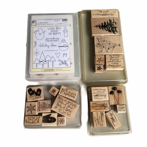 Lot of wooden christmas stamps wording sayings tre